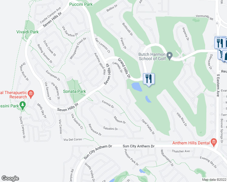 map of restaurants, bars, coffee shops, grocery stores, and more near 1359 Volturno Way in Henderson