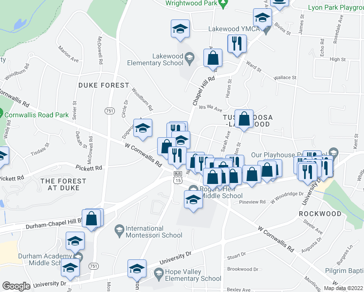 map of restaurants, bars, coffee shops, grocery stores, and more near Pickett Rd & Chapel Hill Rd in Durham