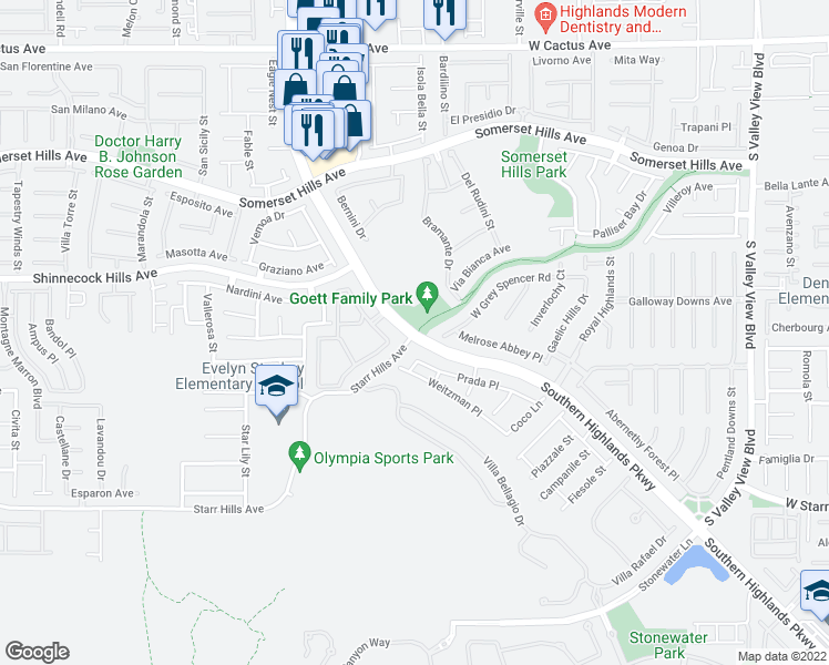 map of restaurants, bars, coffee shops, grocery stores, and more near Southern Highlands Pkwy & Starr Hills Ave in Enterprise