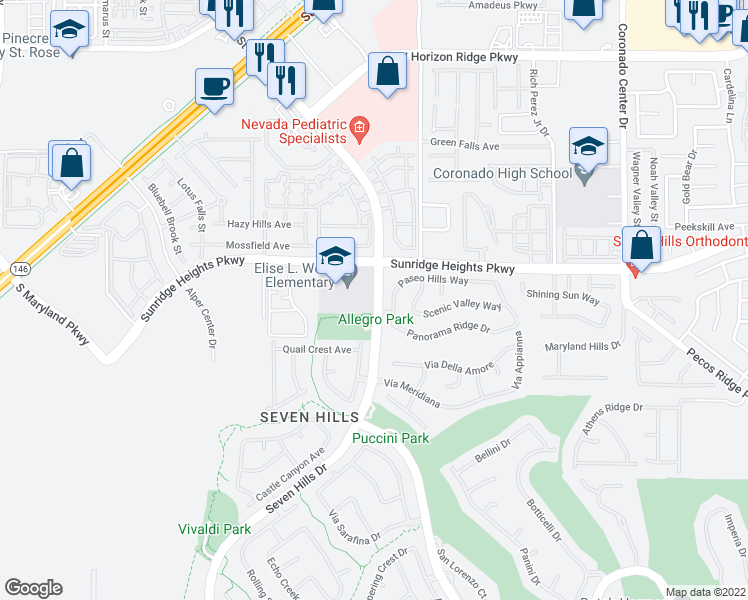 map of restaurants, bars, coffee shops, grocery stores, and more near 1001 Seven Hills Dr in Henderson