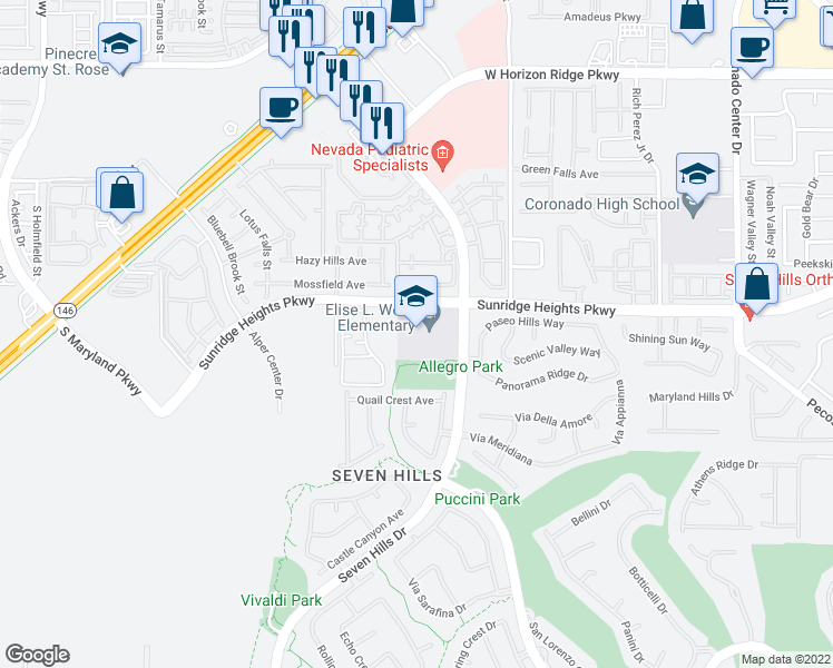 map of restaurants, bars, coffee shops, grocery stores, and more near Sunridge Heights Parkway in Henderson