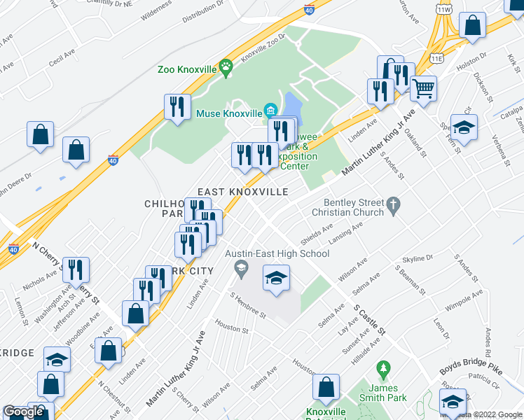 map of restaurants, bars, coffee shops, grocery stores, and more near 3115 Linden Avenue in Knoxville