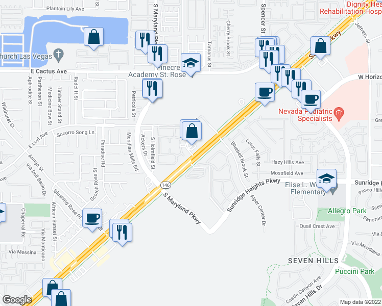 map of restaurants, bars, coffee shops, grocery stores, and more near 3366 St Rose Pkwy in Henderson