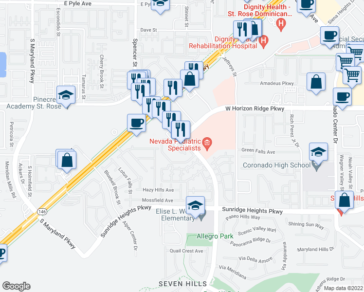 map of restaurants, bars, coffee shops, grocery stores, and more near 855 Seven Hills Dr in Henderson