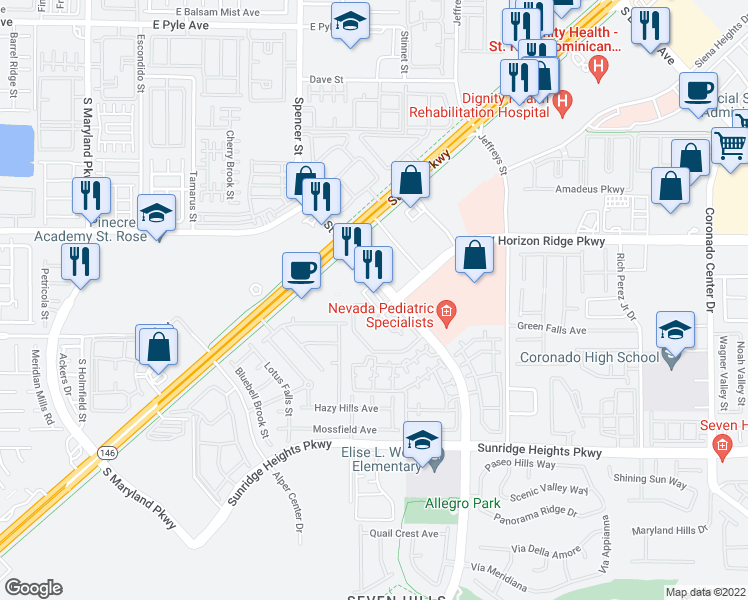 map of restaurants, bars, coffee shops, grocery stores, and more near 835 Seven Hills Drive in Henderson