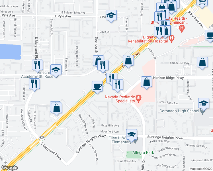 map of restaurants, bars, coffee shops, grocery stores, and more near 587 Saint Rose Parkway in Henderson