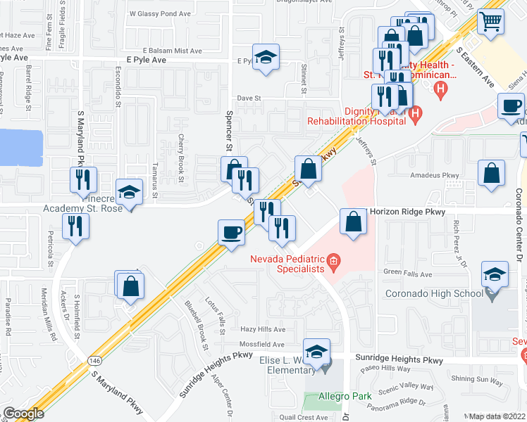 map of restaurants, bars, coffee shops, grocery stores, and more near St Rose Pkwy & Seven Hills Dr in Henderson