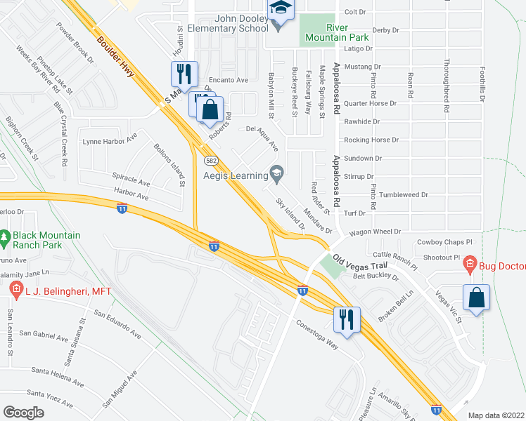 map of restaurants, bars, coffee shops, grocery stores, and more near 4350 S Boulder Hwy in Henderson