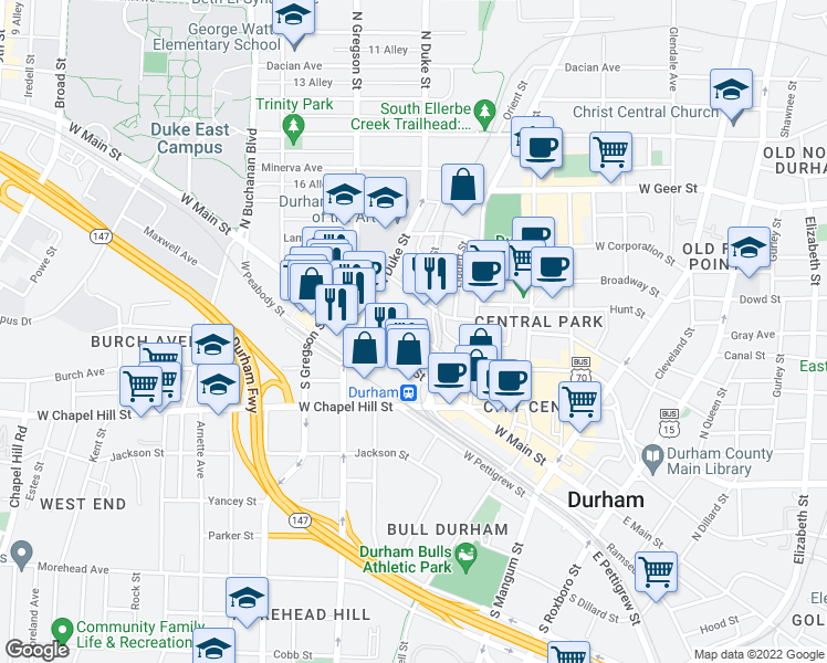 map of restaurants, bars, coffee shops, grocery stores, and more near 604 West Morgan Street in Durham