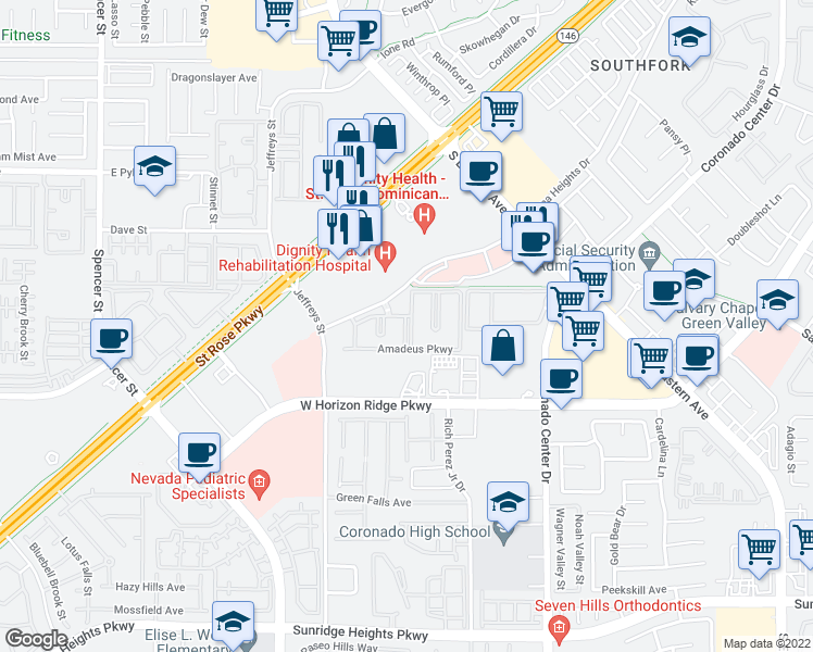 map of restaurants, bars, coffee shops, grocery stores, and more near 2951 Siena Heights Drive in Henderson