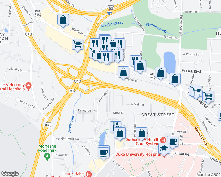 map of restaurants, bars, coffee shops, grocery stores, and more near 311 South LaSalle Street in Durham