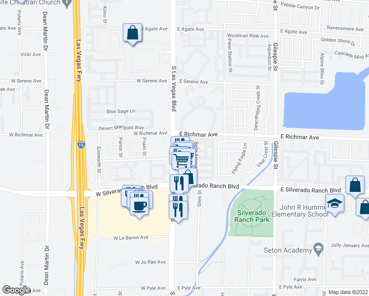 map of restaurants, bars, coffee shops, grocery stores, and more near 9560 Belle Rich Street in Las Vegas