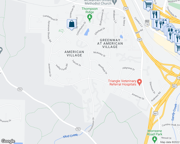 map of restaurants, bars, coffee shops, grocery stores, and more near Constitution Drive in Durham