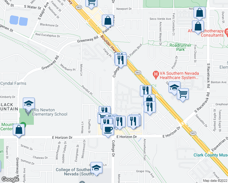 map of restaurants, bars, coffee shops, grocery stores, and more near 510 College Dr in Henderson