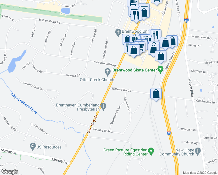map of restaurants, bars, coffee shops, grocery stores, and more near 456-486 Franklin Road in Brentwood