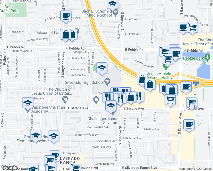 map of restaurants, bars, coffee shops, grocery stores, and more near 1650 Silver Hawk Ave in Las Vegas