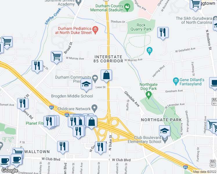 map of restaurants, bars, coffee shops, grocery stores, and more near N Duke St & Leon St in Durham