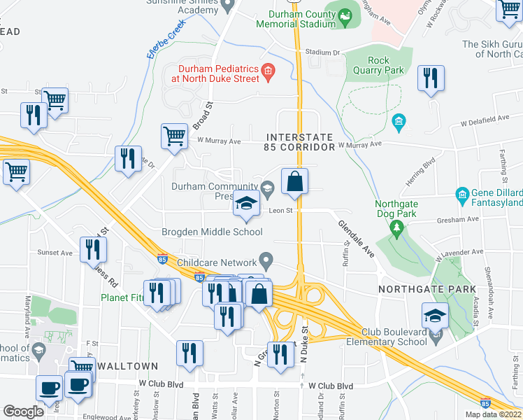 map of restaurants, bars, coffee shops, grocery stores, and more near 911 Leon St in Durham