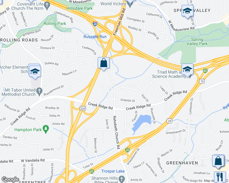 map of restaurants, bars, coffee shops, grocery stores, and more near 3309 Rehobeth Church Road in Greensboro