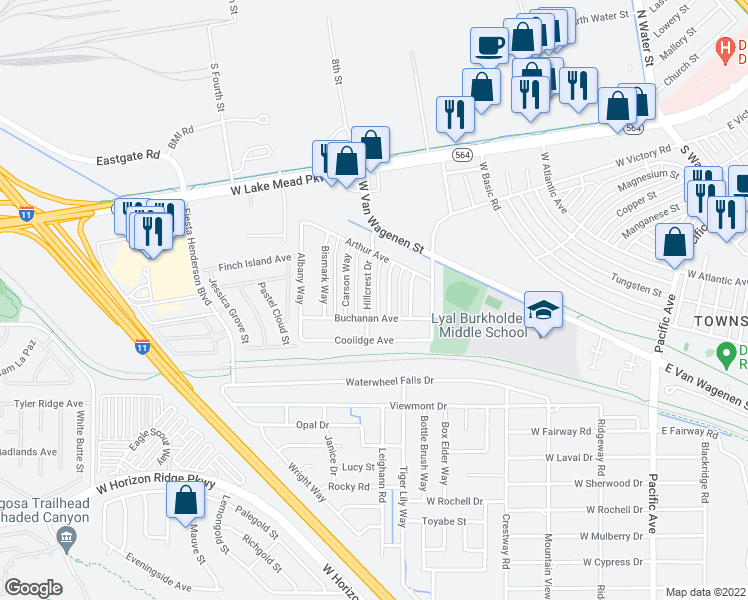 map of restaurants, bars, coffee shops, grocery stores, and more near 241 Hillcrest Dr in Henderson