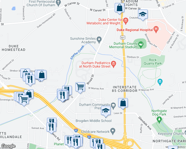 map of restaurants, bars, coffee shops, grocery stores, and more near 2400 Broad Street in Durham