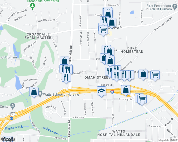 map of restaurants, bars, coffee shops, grocery stores, and more near 2951-2999 Bertland Avenue in Durham