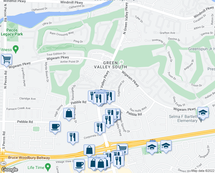 map of restaurants, bars, coffee shops, grocery stores, and more near 65 Yesterday Dr in Henderson