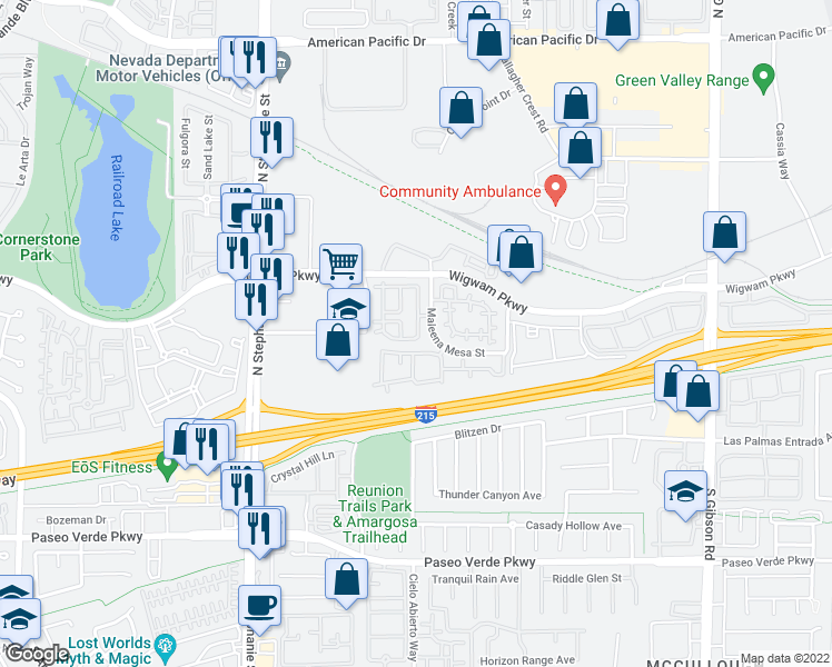 map of restaurants, bars, coffee shops, grocery stores, and more near 57 Dow Jones St in Henderson