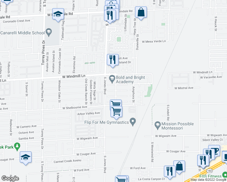 map of restaurants, bars, coffee shops, grocery stores, and more near in Las Vegas