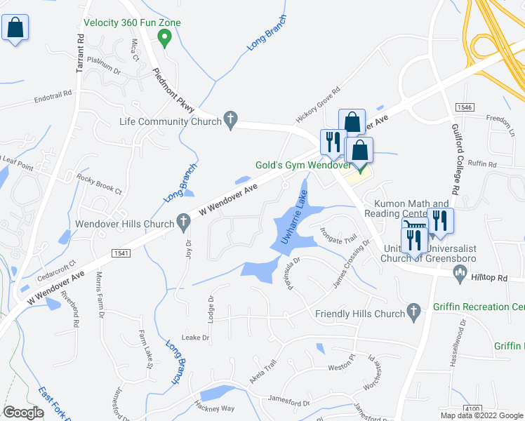 map of restaurants, bars, coffee shops, grocery stores, and more near 4500-4520 Crowne Lake Circle in Jamestown