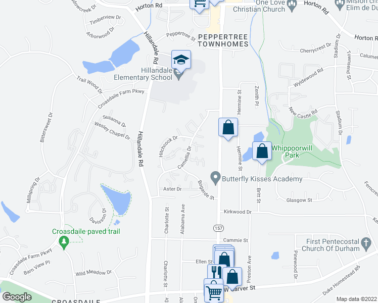 map of restaurants, bars, coffee shops, grocery stores, and more near 2640-2646 Camellia Dr in Durham