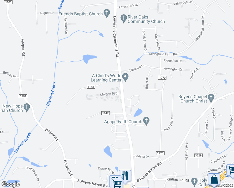 map of restaurants, bars, coffee shops, grocery stores, and more near 2000-2298 Megan Circle in Clemmons