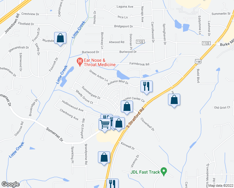 map of restaurants, bars, coffee shops, grocery stores, and more near 2454 Hillcrest Center Circle in Winston-Salem