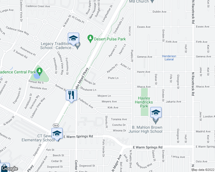 map of restaurants, bars, coffee shops, grocery stores, and more near 222 Navajo Dr in Henderson
