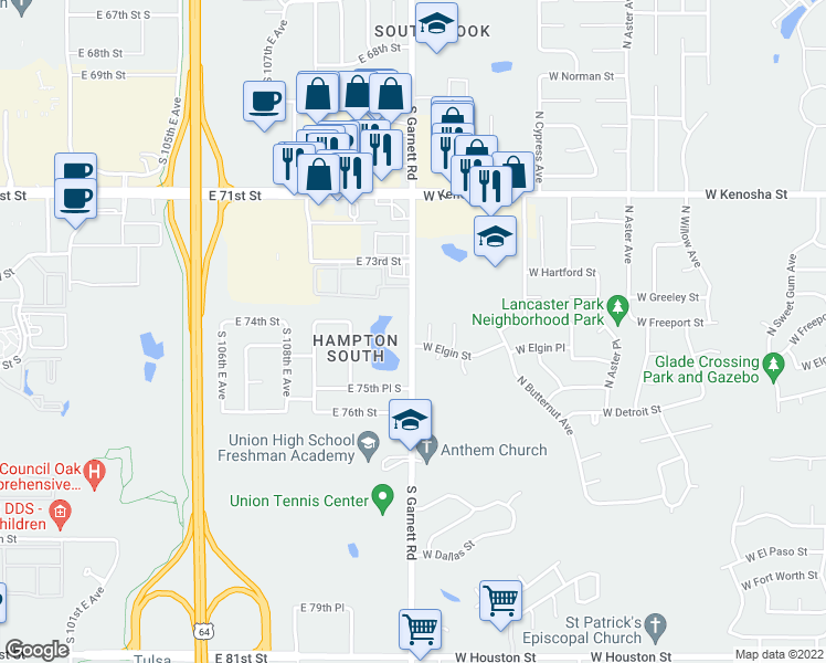 map of restaurants, bars, coffee shops, grocery stores, and more near 7310 South Garnett Road in Broken Arrow