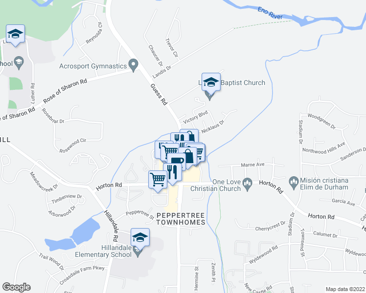 map of restaurants, bars, coffee shops, grocery stores, and more near 3834 Guess Road in Durham