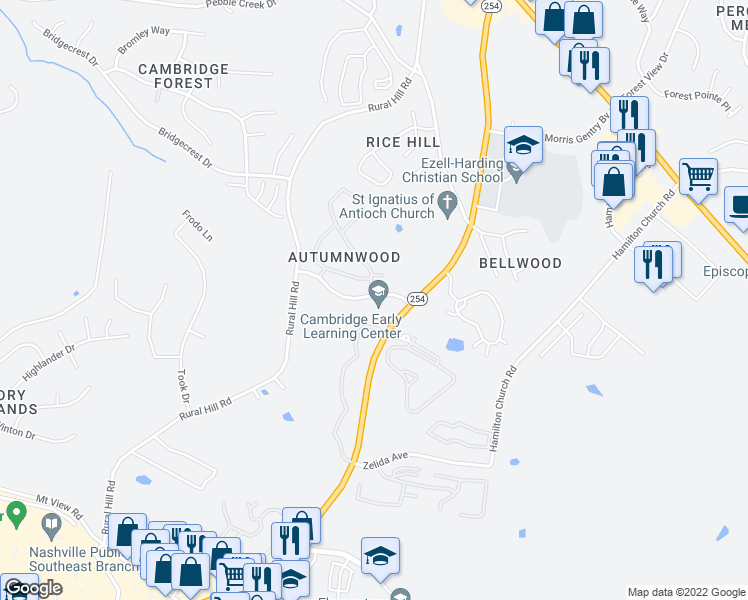 map of restaurants, bars, coffee shops, grocery stores, and more near 2325 Hickory Highlands Drive in Nashville