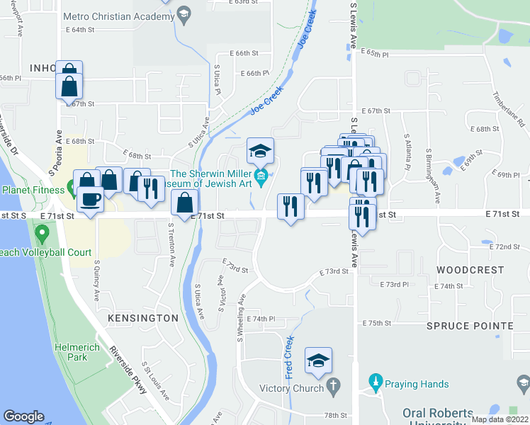 map of restaurants, bars, coffee shops, grocery stores, and more near E 71st St & S Wheeling Ave in Tulsa