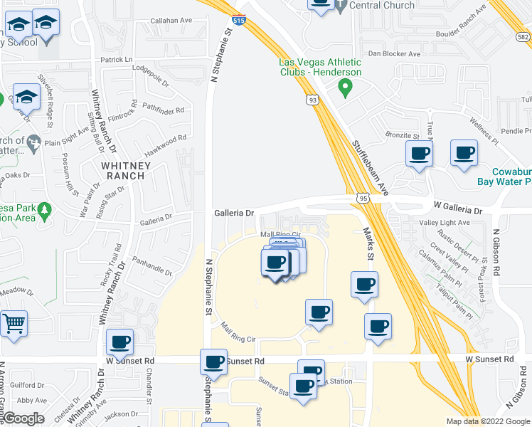 map of restaurants, bars, coffee shops, grocery stores, and more near 1281 Galleria Drive in Henderson