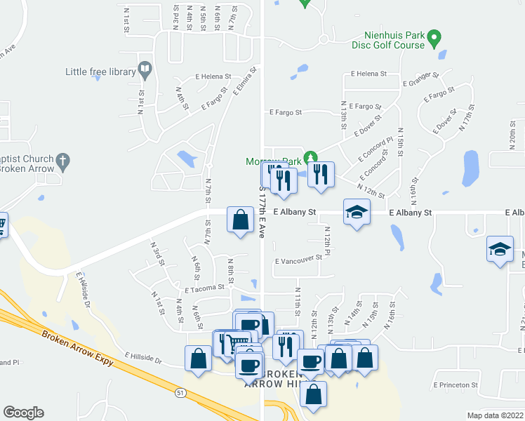 map of restaurants, bars, coffee shops, grocery stores, and more near South Lynn Lane Road & East 61st Street South in Broken Arrow