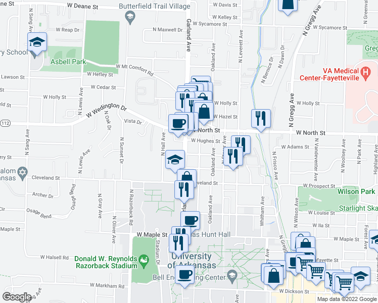 map of restaurants, bars, coffee shops, grocery stores, and more near 904 Garland Avenue in Fayetteville