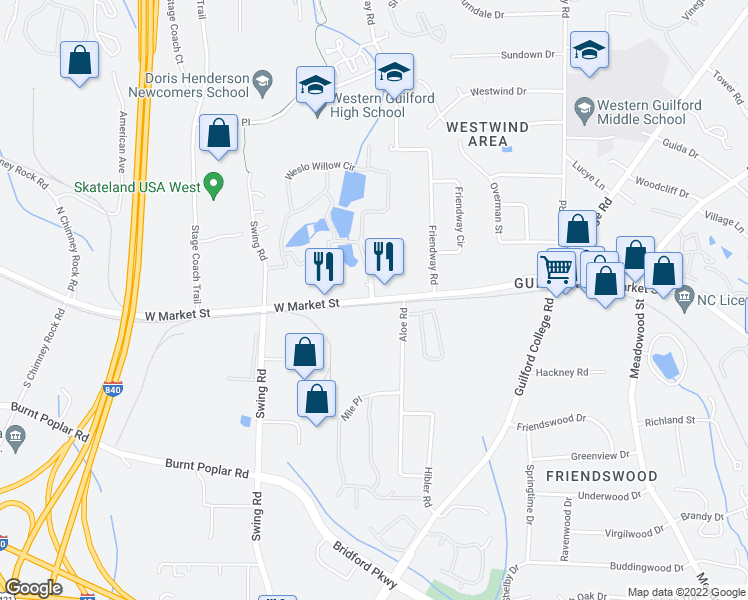 map of restaurants, bars, coffee shops, grocery stores, and more near 5500 Weslo Willow Circle in Greensboro