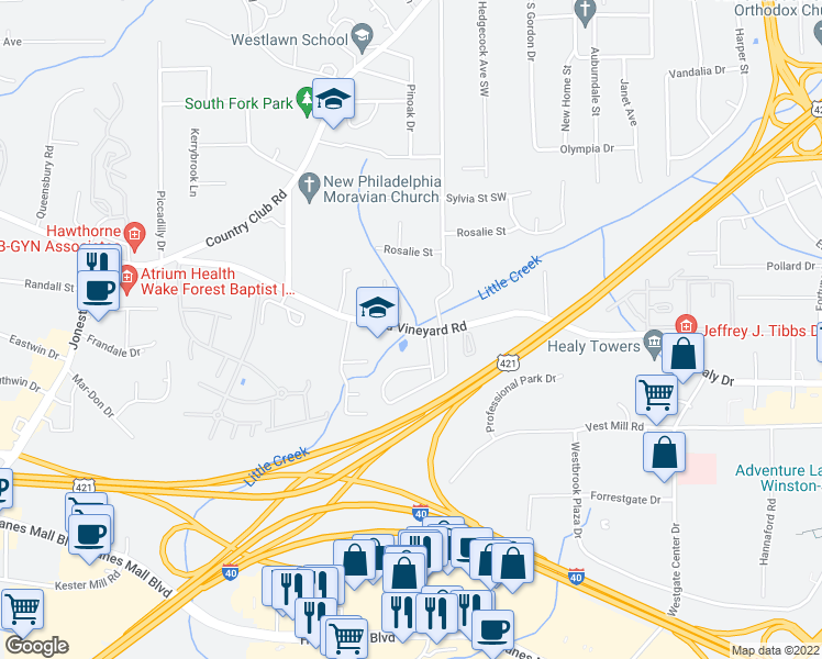 map of restaurants, bars, coffee shops, grocery stores, and more near 3890 Old Vineyard Road in Winston-Salem
