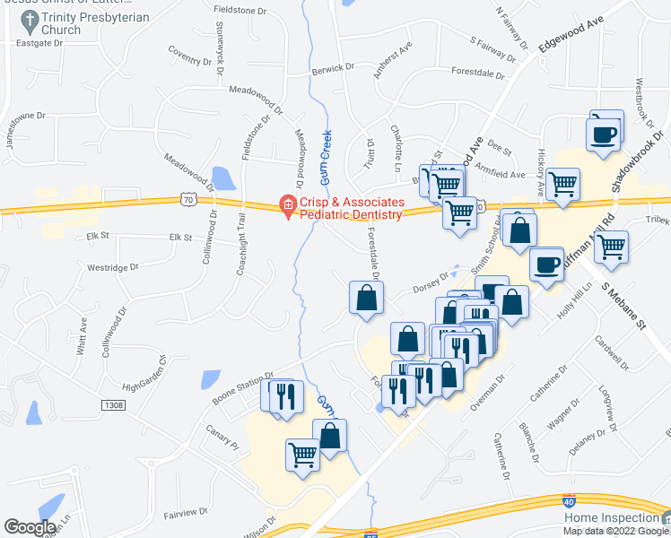 map of restaurants, bars, coffee shops, grocery stores, and more near 3487 Forestdale Drive in Burlington
