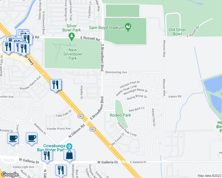map of restaurants, bars, coffee shops, grocery stores, and more near 1089 Blue Sands Court in Henderson