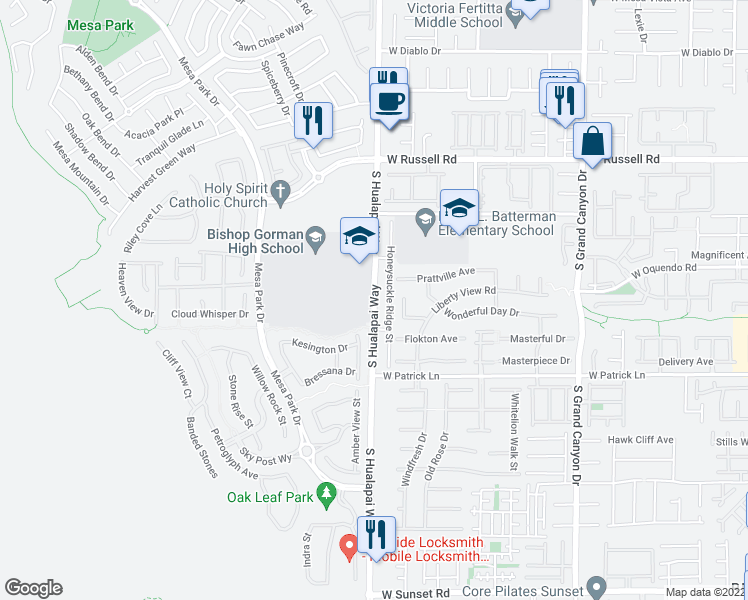 map of restaurants, bars, coffee shops, grocery stores, and more near 5959 South Hualapai Way in Las Vegas