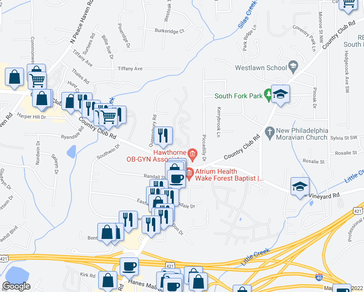 map of restaurants, bars, coffee shops, grocery stores, and more near 201-299 Crowne Club Drive in Winston-Salem