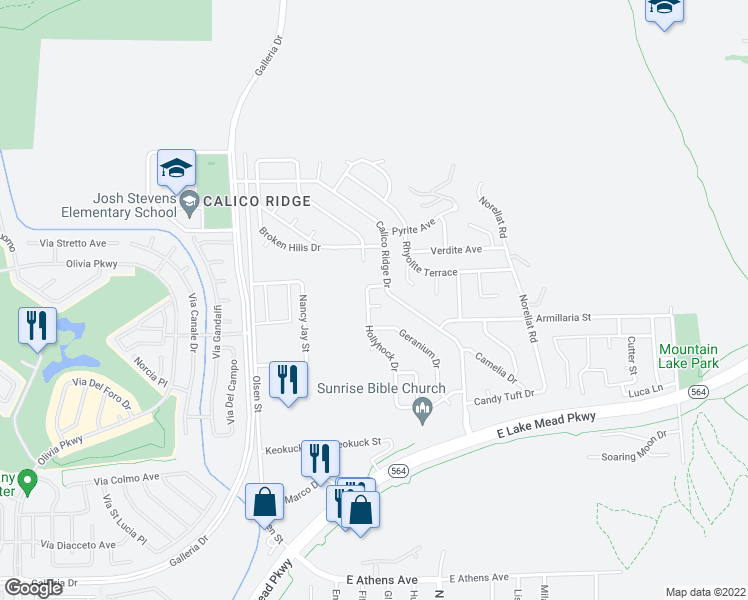 map of restaurants, bars, coffee shops, grocery stores, and more near 1065 Hollyhock Dr in Henderson