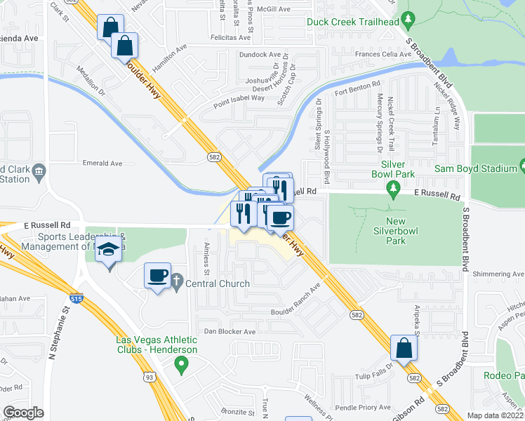 map of restaurants, bars, coffee shops, grocery stores, and more near Boulder Hwy & E Russell Rd in Whitney