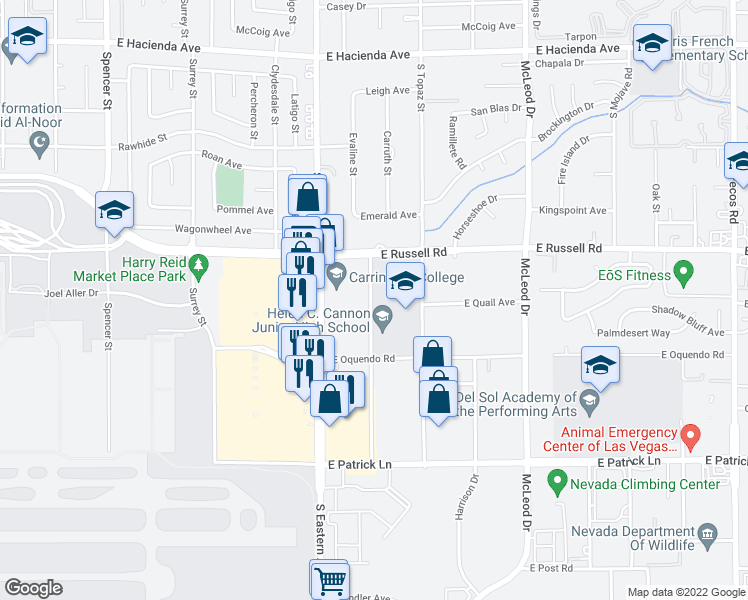 map of restaurants, bars, coffee shops, grocery stores, and more near 5700-5898 Euclid Street in Las Vegas